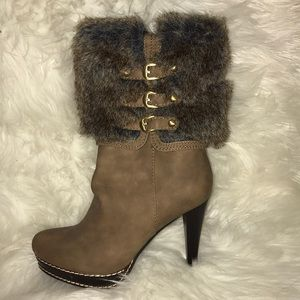 Brown fur high heel boots